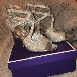 Sparkly silver open toe heels